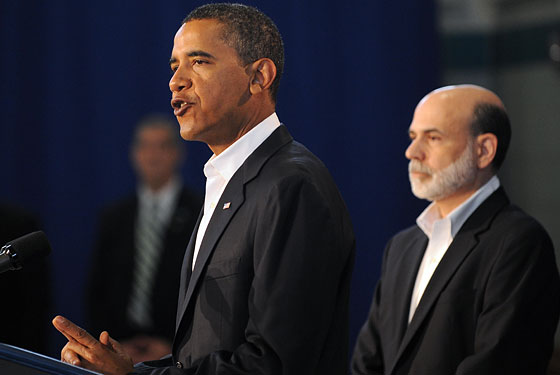 Bernanke adopts appropriate plumage in order to survive.