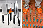 Knives and clogs in the al di là kitchen.