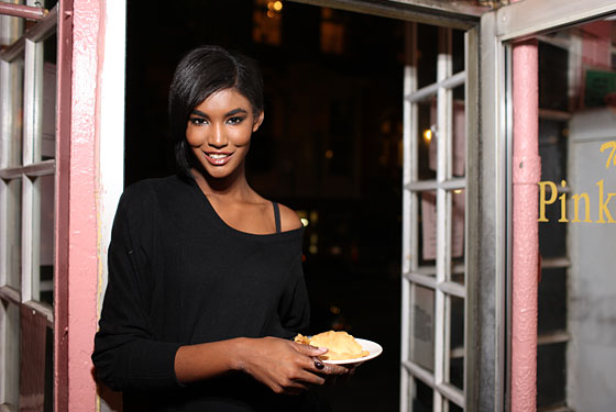 During fashion week, model Sessilee Lopez avoids desserts like this apple pie at the Pink Tea Cup.