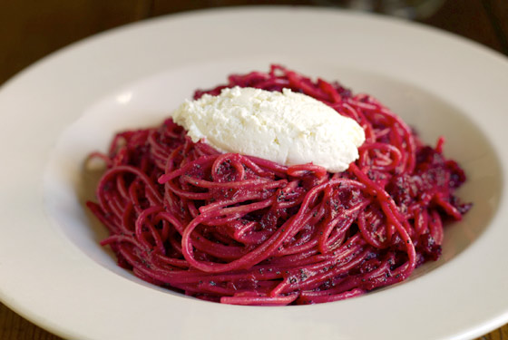 Farro Spaghetti, Beets, Brown Butter, Poppy Seeds.