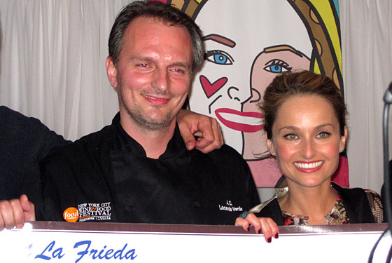 Meatball Madness winner Andrew Carmellini with host Giada De Laurentiis.