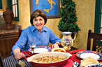 Mary Ann Esposito on the set of <em>Ciao Italia</em>.
