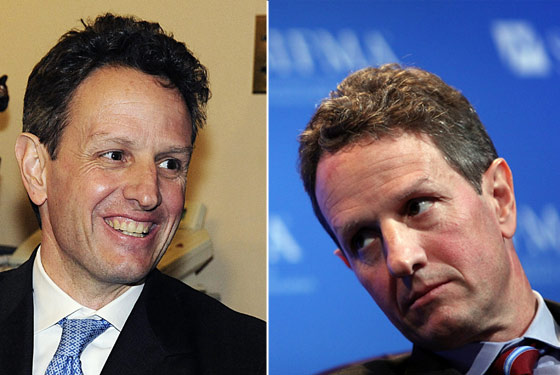 Geithner in December 2008 (left) and yesterday.