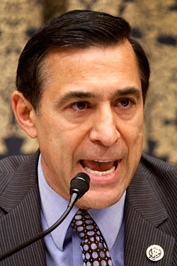Representative Darrell Issa can afford to bite this microphone in half because he's the richest person in Congress.