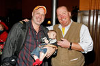 Papa Tom Colicchio, a little Colicchio, and Mario Batali at a screening of &#39;Fantastic Mr. Fox.&#39;