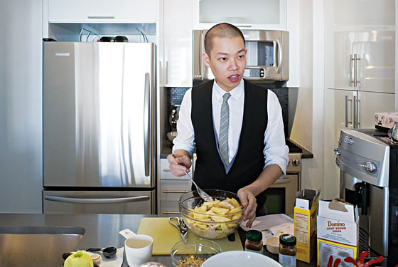 Jason Wu practices making a pie in anticipation of his lesson with Fran&#231;ois Payard.
