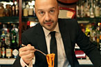 Joe Bastianich behind the bar at Otto.