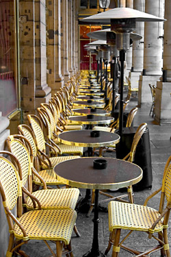 Heated outdoor seating in Paris, where everything is more civilized.