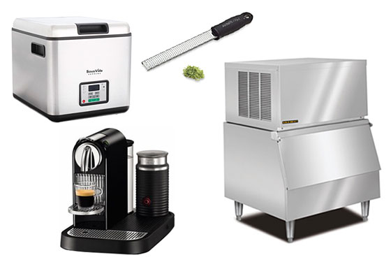 Clockwise from left, SousVide Supreme, Microplane grater, Kold Draft ice machine, and a Nespresso machine.