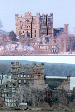 The castle before (top) and after the collapse. The black lines indicate roughly where the collapse took place.