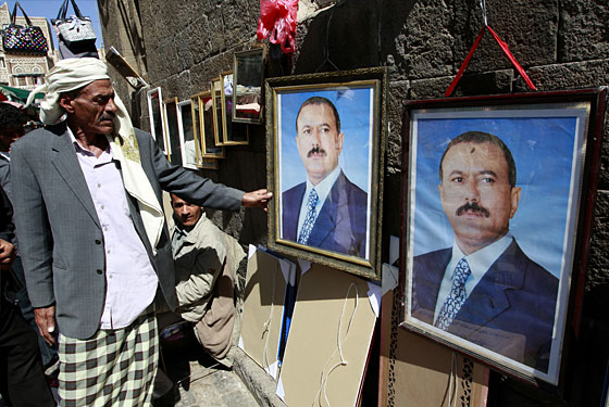 Posters of President Saleh at a market in Sana'a.
