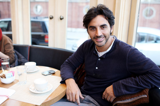 Yigal Azrouël with a cappuccino at 10 Downing.