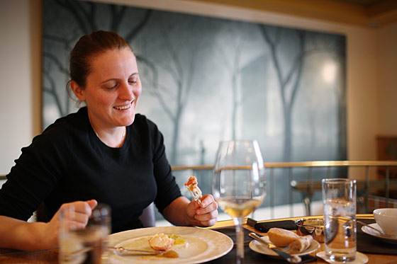Chef April Bloomfield over lunch at Eleven Madison Park.