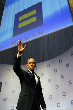 "Obama at a Human Rights Campaign event last fall, where he promised to repeal ""Don't Ask, Don't Tell."""