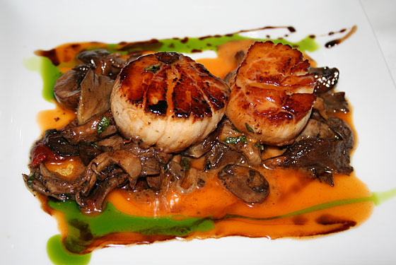 Damien DiPaola's scores with seared scallops with a spicy grapefruit glaze.