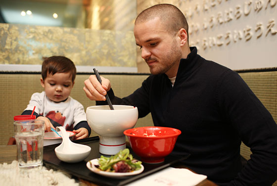 Nate Appleman shares ramen with son Oliver at Ippudo.