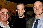 Dan Barber (center) with <em>Food Inc.</em> producers Robert Kenner and Eric Schlosser