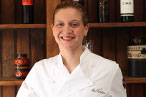 Chef Amanda Freitag in the dining room at the Harrison.