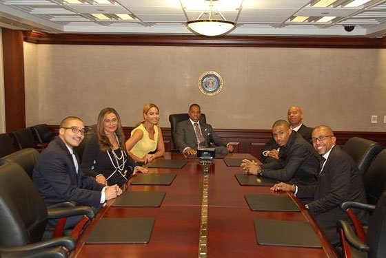 Jay-Z, Beyoncé, and friends pose for a photo in the White House's Situation Room before meeting President Obama on Wednesday.