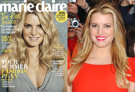 Jessica Simpson Appears Unretouched With No Makeup on the Cover of May's