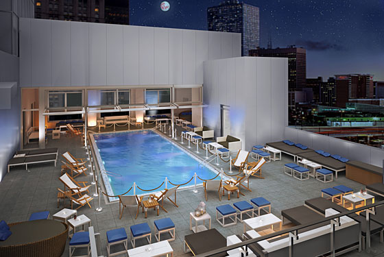 Gansevoort park avenue uncovers its rooftop pool opening in july grub street for Hotel new york swimming pool roof