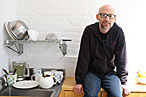 Moby in his kitchen.