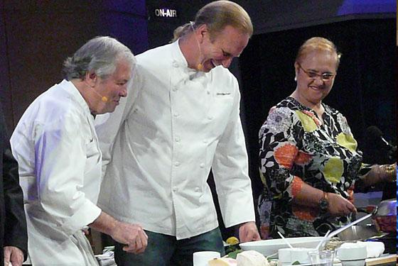 From left, Jacques Pepin, Michel Nischan, and Lidia Bastianich.