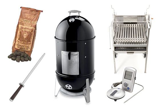 Clockwise from lower left: knife sharpener, charcoal, smoker, grill, and remote thermometer.