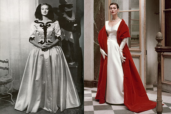 "Balenciaga ""Infanta"" evening dress, 1939 (left); Balenciaga  evening dress and stole, 1952."
