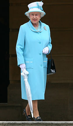 The Queen Hosted a Tea Party in a Blue Coat