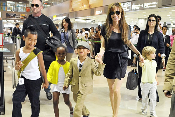 The jolie pitt children are punky preppy and surprisingly