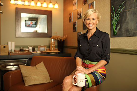 Brzezinski in her dressing room on the Morning Joe set.