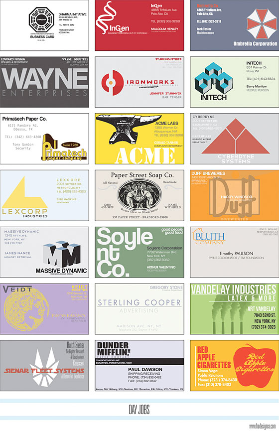 See a Collection of Business Cards for Fictional Companies -- Vulture
