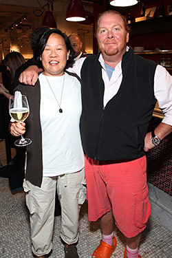 Anita Lo and Mario Batali celebrate at Eataly.