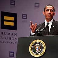 Obama addressing the Human Rights Campaign.