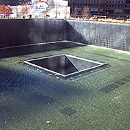 One-half of the World Trade Center Memorial.