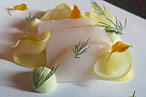 Poached diver scallops, lemon-fennel puree, dill.
