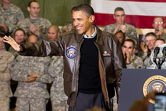 President Barack Obama: The Bomber Jacket Prop is back, unemployment at 9.8%, cue the Jacket and play toy soldier in Afghanistan like George Bush.