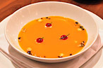Dovetail&#39;s pumpkin soup with rosemary marshmallows, cranberry pur&amp;#233;e, and pumpernickel croutons.