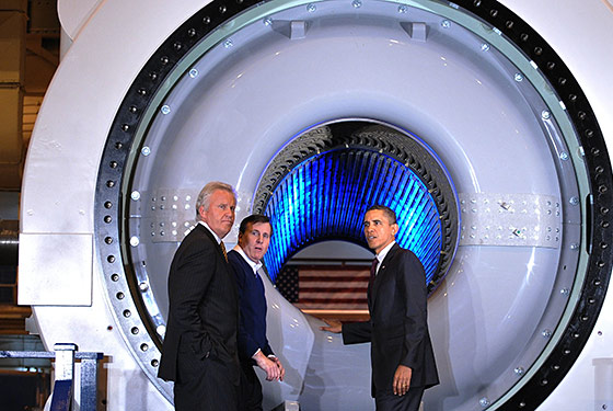 President Obama Examines John Boehner's New Tanning Bed at GE Factory
