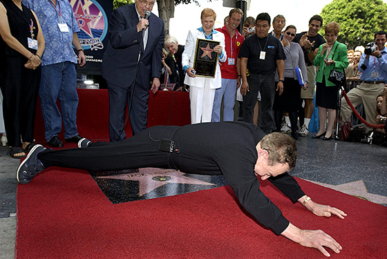 LaLanne doing push-ups over his Hollywood Walk of Fame star, at the age of 88.