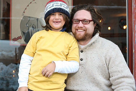 Zak Pelaccio (and his son, Hudson) outside Fatty Johnson's.