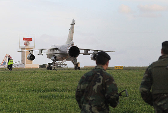 A Libyan air force jet after landing in Malta. Photo: Lior Mizrahi /Getty