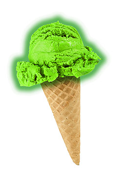 Alien ice cream, a flavor idea that has thus far gone unrealized.