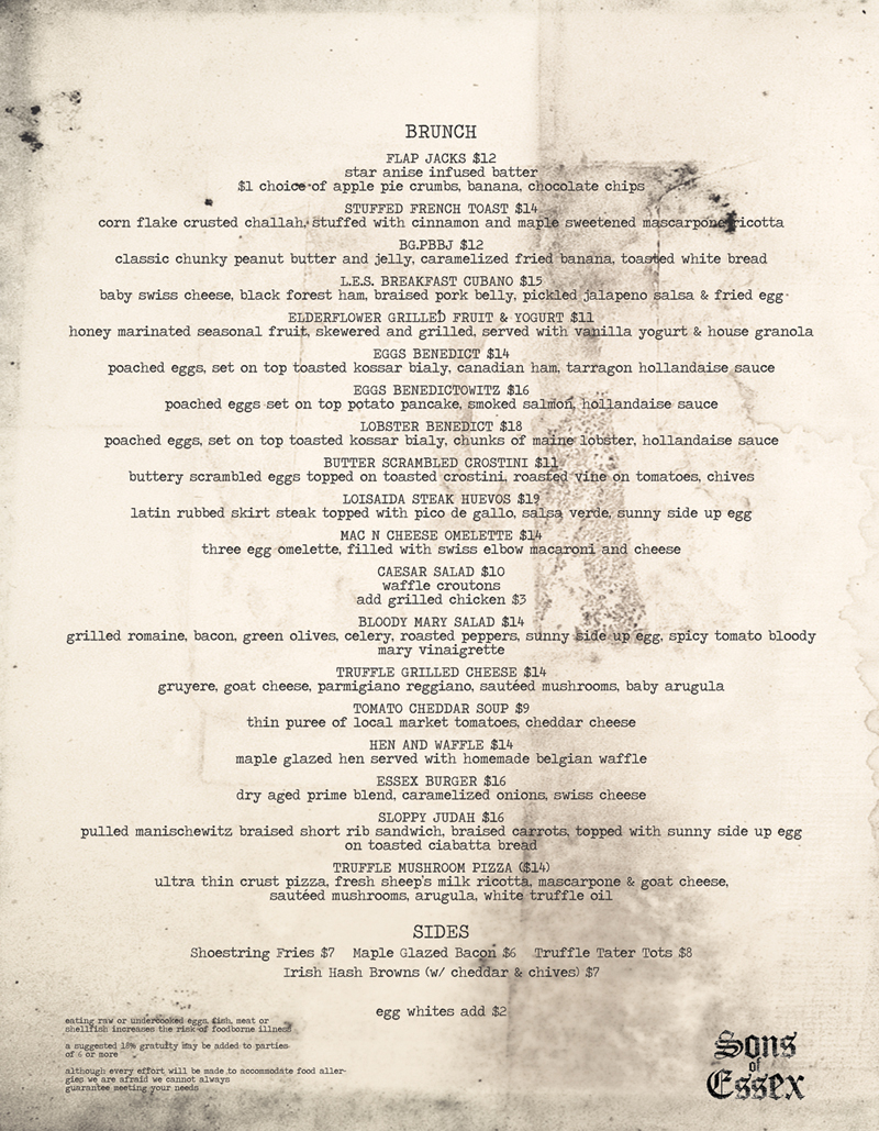 Sons of essex brunch menu photos 97