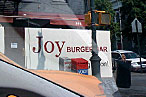 The new Joy Burger, as seen from a moving vehicle.