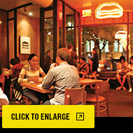 Umami Burger restaurant interior: Click to expand