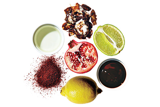Souring agents: clockwise from top, tamarind, lime, pomegranate molasses, lemon, sumac, vinegar; center, pomegranate.