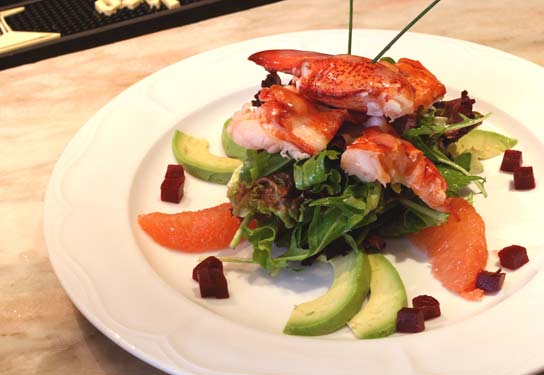 Maine Lobster Salad With Avocado, Beets, Ruby Red Grapefruit and Baby Greens in a Champagne Vinaigrette