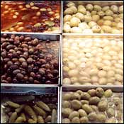 Olive bar at a New York deli.